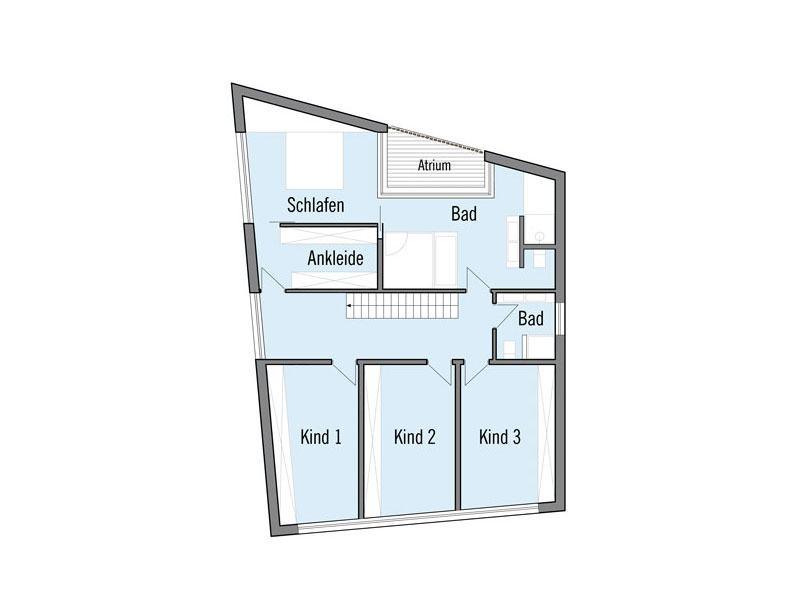 Grundriss Obergeschoss Designhaus Bullinger von Baufritz