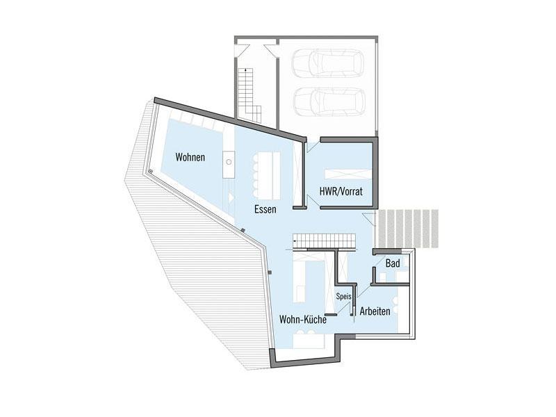 Grundriss Erdgeschoss Designhaus Bullinger von Baufritz