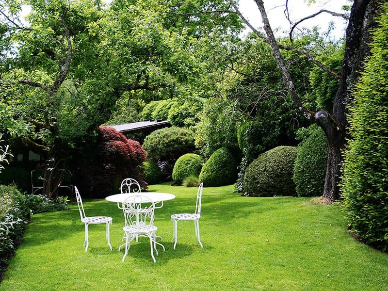 Rasenfläche mit Gartenmöbel (Foto: Carola Ettwein)