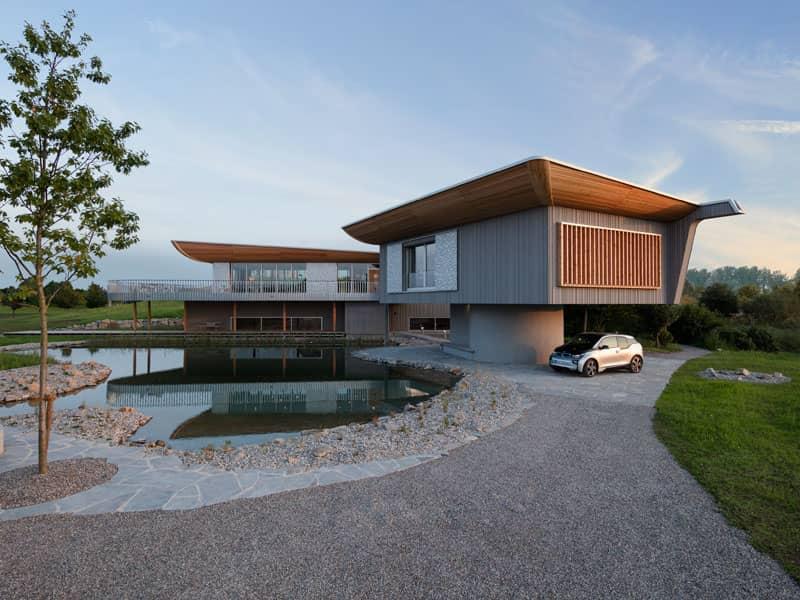 Aussenansicht mit Einliegerwohnung Entwurf Haussicht von Baufritz