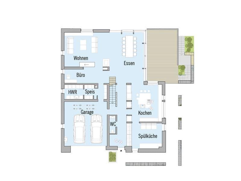 Grundriss Erdgeschoss Kieffer von Baufritz