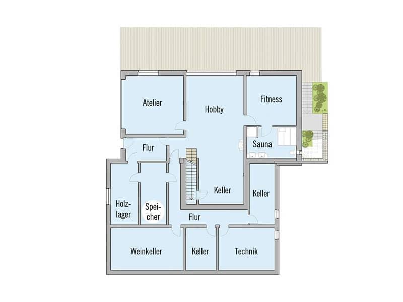 Grundriss Untergeschoss Baufritz