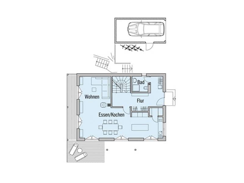Grundriss Erdgeschoss Landhaus Motz-Russ von Baufritz
