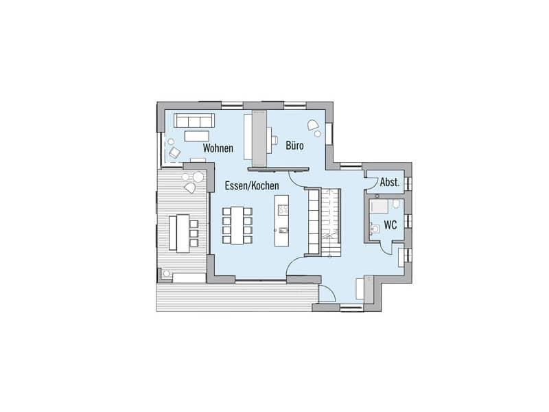 Grundriss Erdgeschoss Entwurf NaturDesign von Baufritz