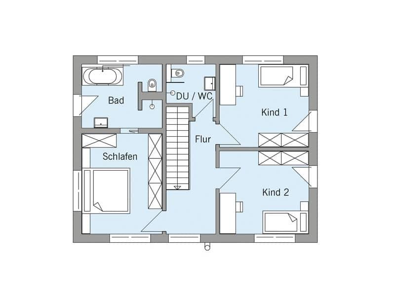 Grundriss Obergeschoss Haus Schneider von Baufritz