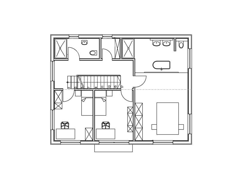 Grundriss Obergeschoss Entwurf Gwandtner von Sonnleitner