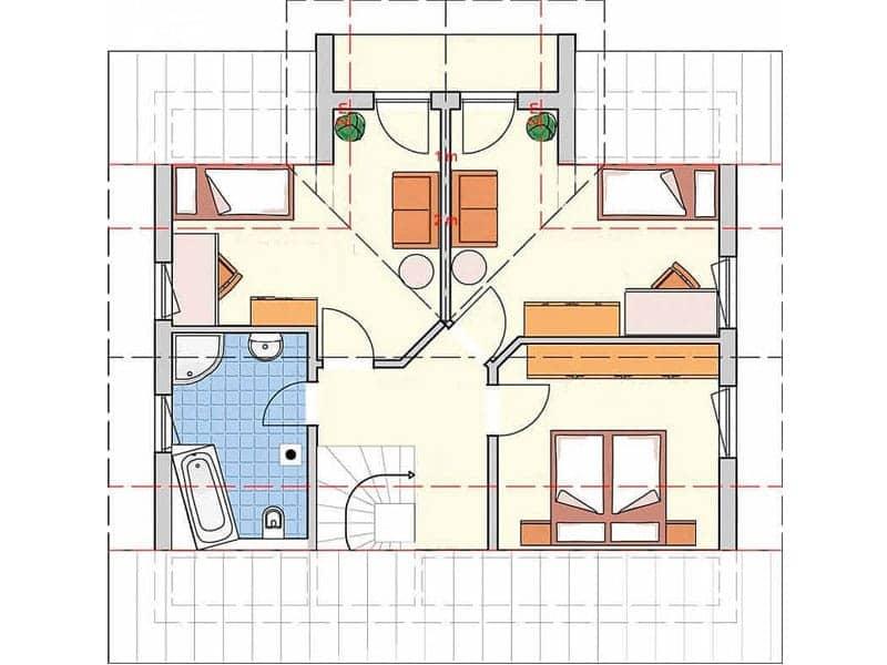 Grundriss Obergeschoss R 99.20 von Fingerhut Haus