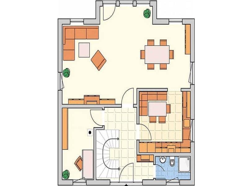 Grundriss Erdgeschoss R 99.20 von Fingerhut Haus