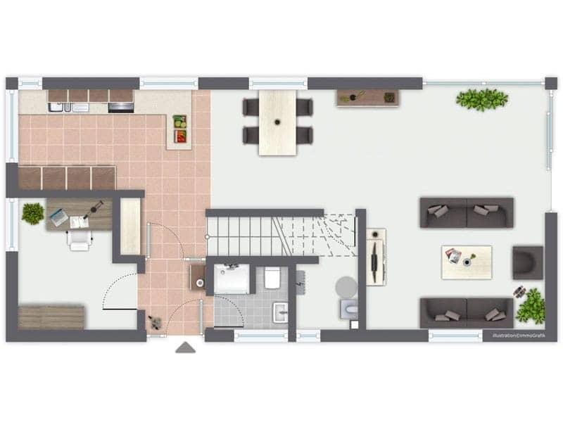 Grundriss Erdgeschoss Entwurf Murano von Gussek Haus