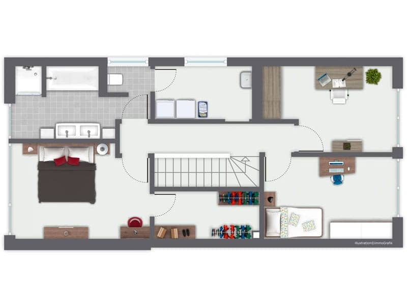 Grundriss Obergeschoss Entwurf Murano von Gussek Haus