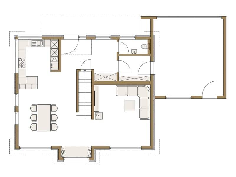 Grundriss Erdgeschoss Entwurf LIFE von Fertighaus Weiss