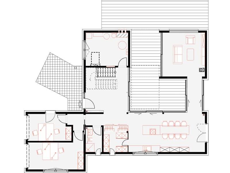 Grundriss Erdgeschoss Musterhaus Bad Vilbel von OKAL