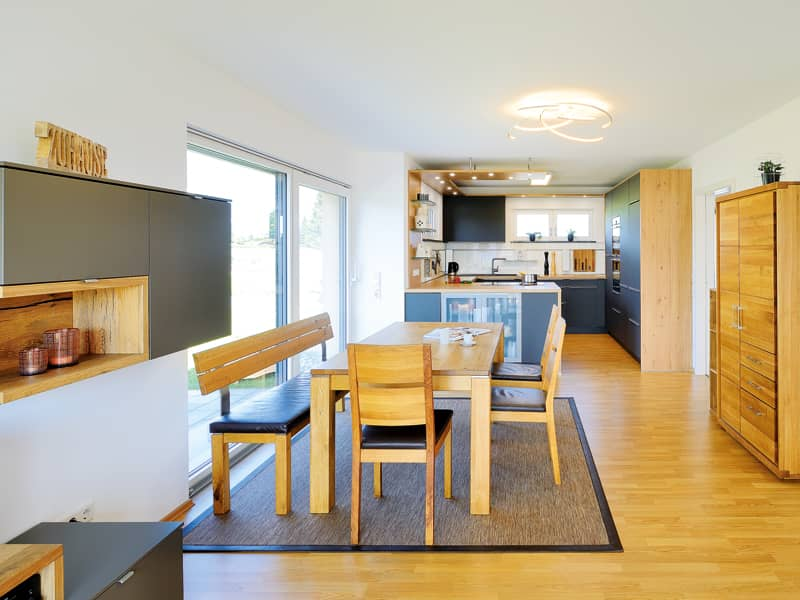 Entwurf Grauer Fertighaus Weiss Küche