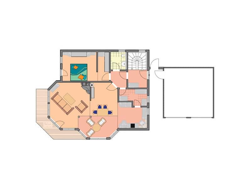 Grundriss Erdgeschoss Entwurf Wallis von Bodenseehaus
