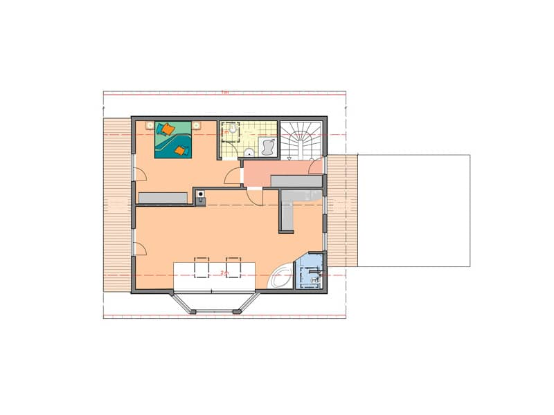 Grundriss Dachgeschoss Entwurf Wallis von Bodenseehaus
