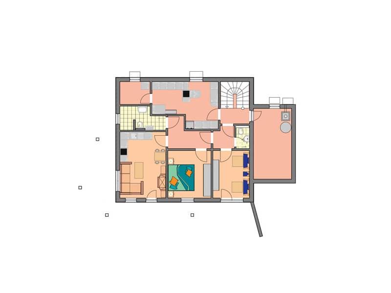 Grundriss Hanggeschoss Entwurf Wallis von Bodenseehaus