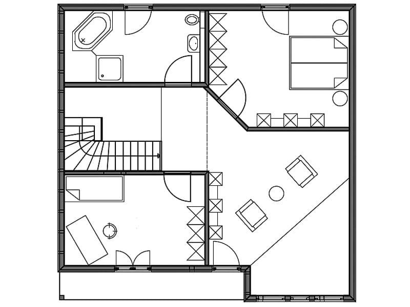 Grundriss Dachgeschoss Entwurf Überlingen von Bodenseehaus