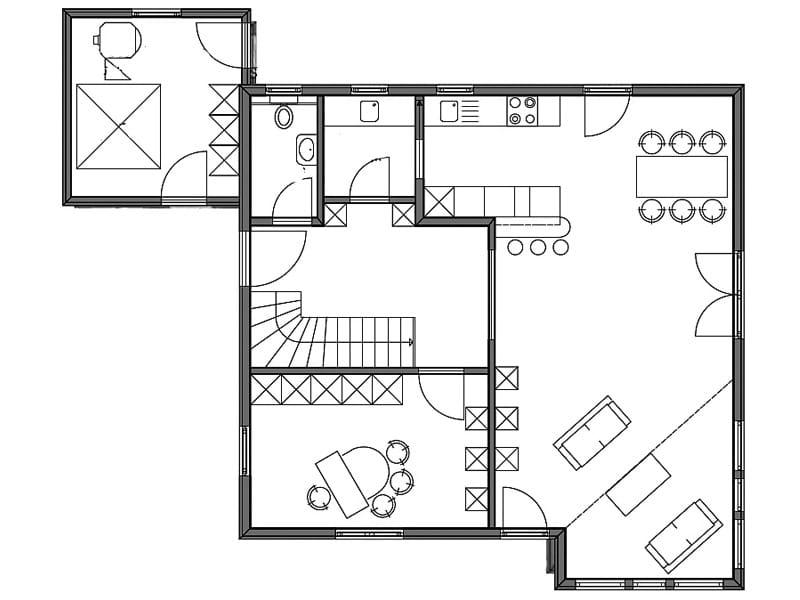 Grundriss Erdgeschoss Entwurf Überlingen von Bodenseehaus