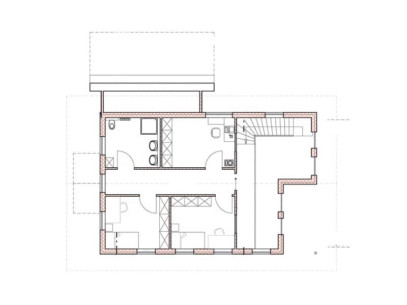 Grundriss Dachgeschoss Blockhaus Allgäu Chiemgauer