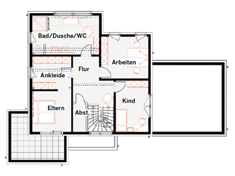 Grundriss Obergeschoss Musterhaus Schkeuditz von Okal