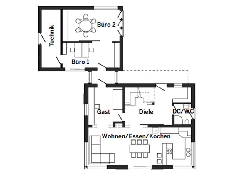 Grundriss Erdgeschoss Musterhaus Günzburg von Schwörer