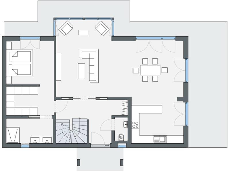 Grundriss Erdgeschoss Entwurf Leclerc von Weberhaus