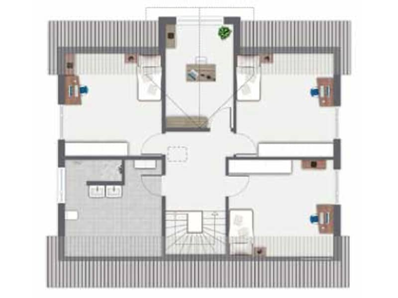 Grundriss Obergeschoss Entwurf Babelsberg von Gussek Haus