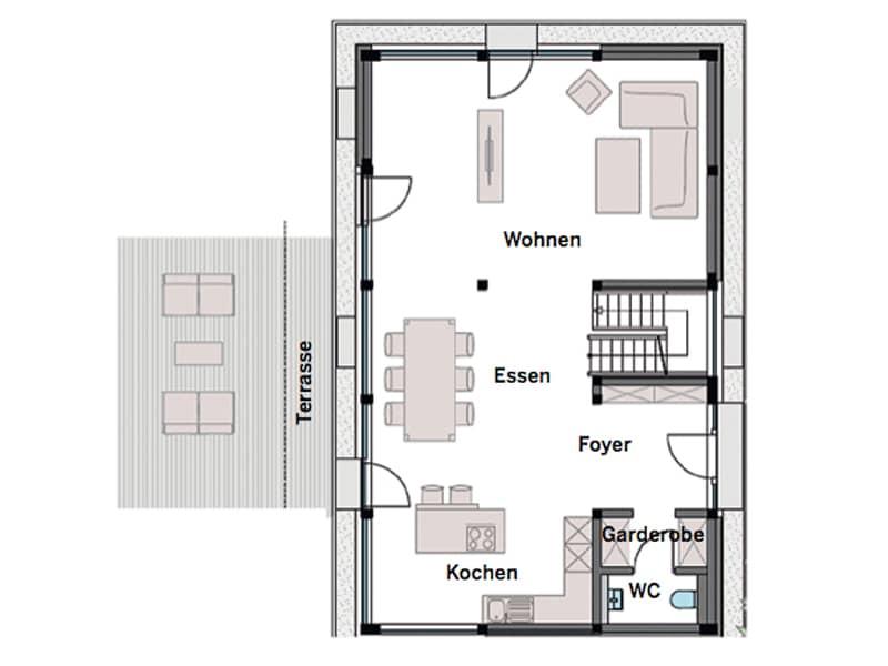 Grundriss Erdgeschoss Entwurf modum 6:10 von Huf-Haus