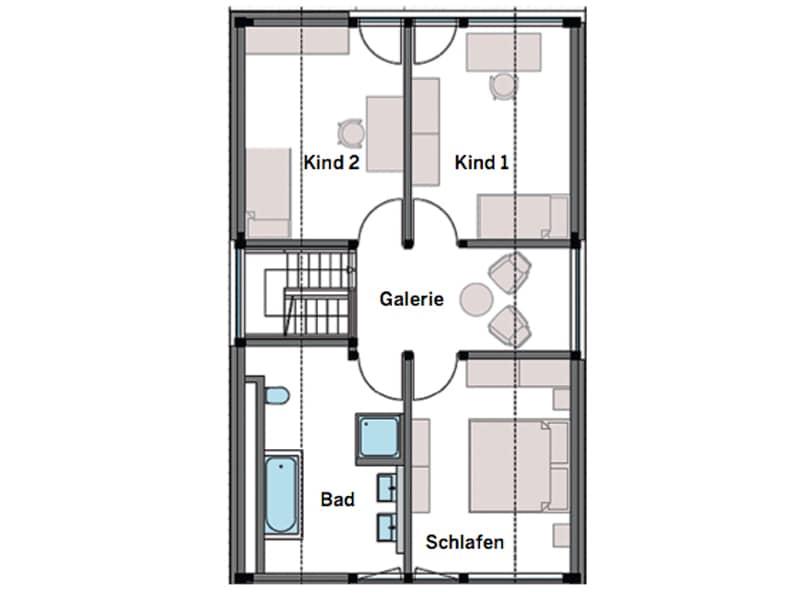 Grundriss Obergeschoss Entwurf modum 6:10 von Huf-Haus
