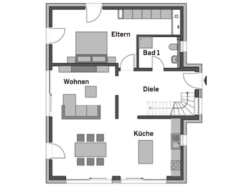 Grundriss Erdgeschoss Haus Alto SD 300 von Heinz von Heiden