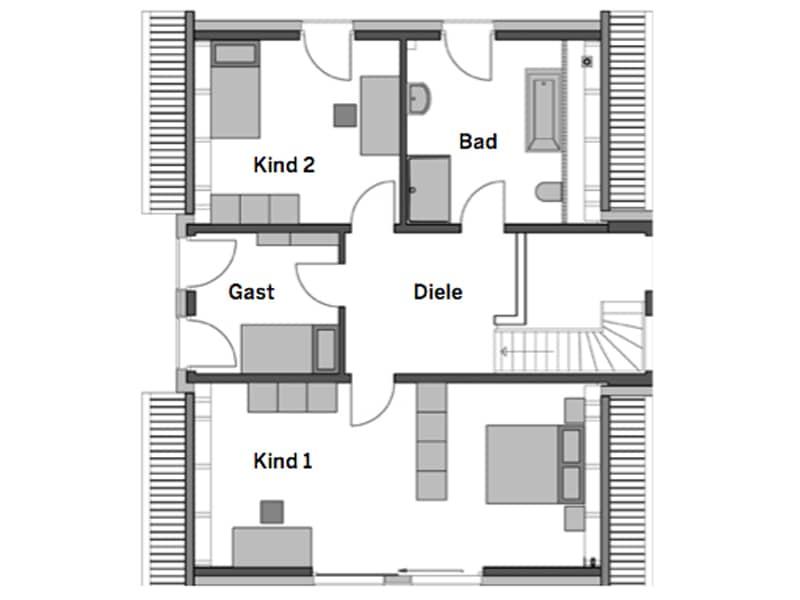 Grundriss Obergeschoss Haus Alto SD 300 von Heinz von Heiden