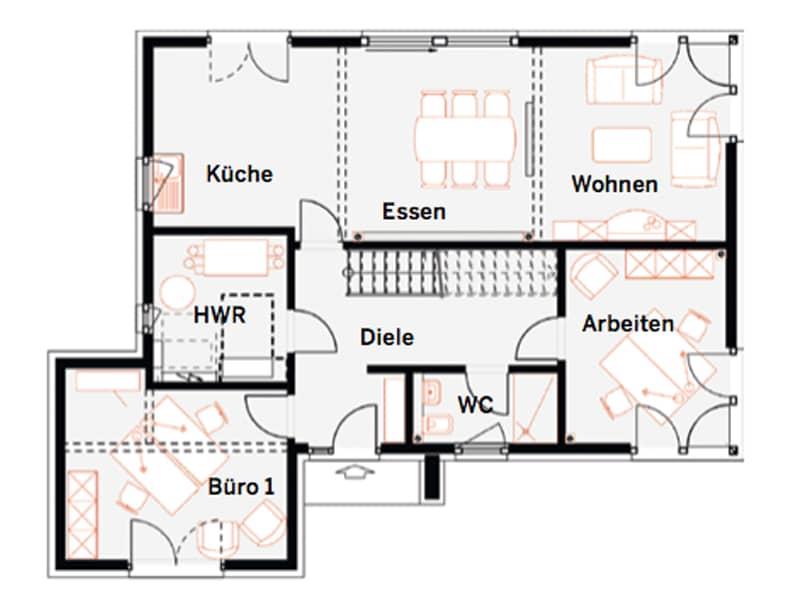 Grundriss Erdgeschoss Musterhaus Werder von Okal