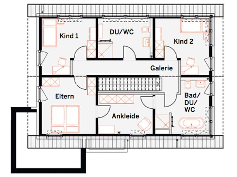 Grundriss Obergeschoss Musterhaus Werder von Okal