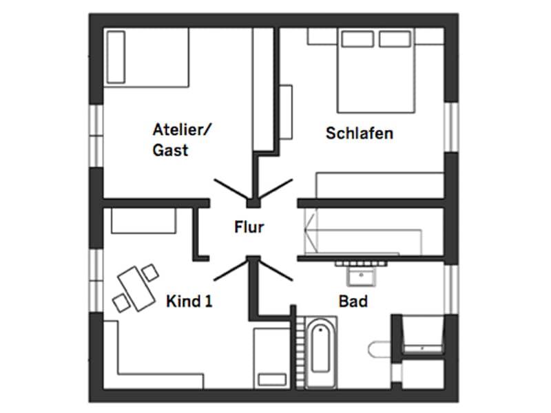 Grundriss Obergeschoss Entwurf Salvasohn von Schwörer