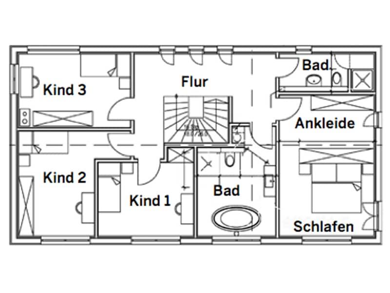 Grundriss Obergeschoss Entwurf Schlemer von Sonnleitner