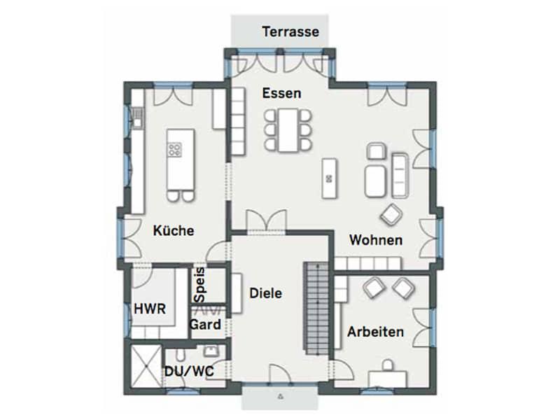 Grundriss Erdgeschoss Kundenhaus Gutsch von WeberHaus