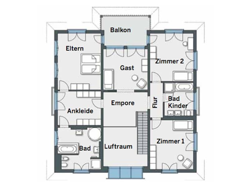 Grundriss Obergeschoss Kundenhaus Gutsch von WeberHaus