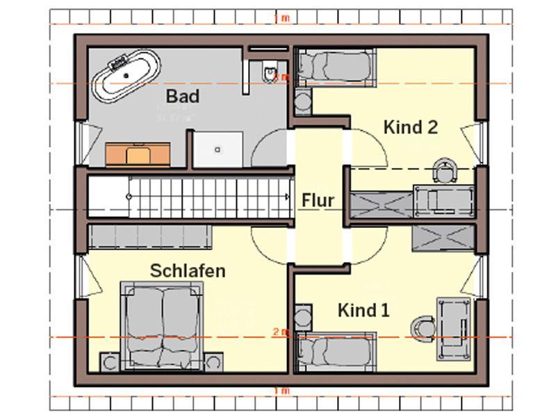 Grundriss Dachgeschoss Entwurf Jedermann von Büdenbender Hausbau