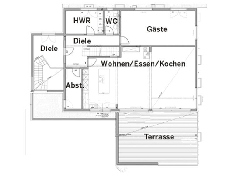 Erdgeschoss Entwurf Wünschmann von Fertighaus Weiss
