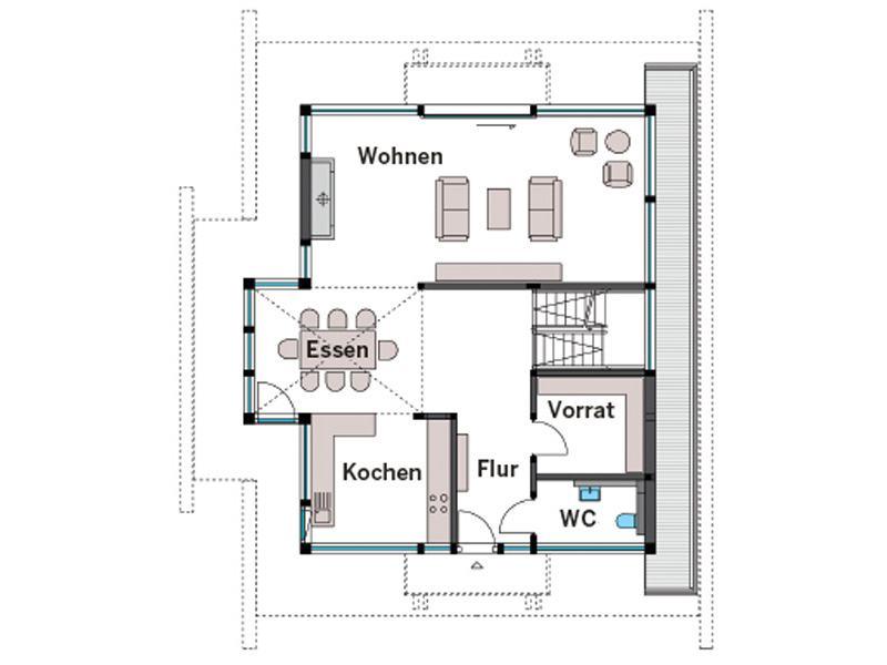 Grundriss Erdgeschoss Art 3 von Huf Haus