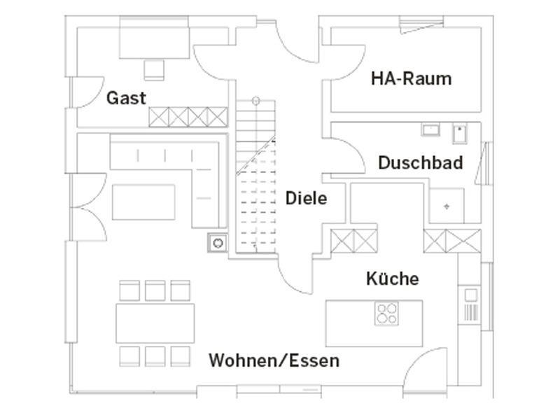 Grundriss Erdgeschoss Entwurf Bruckmühl von Regnauer