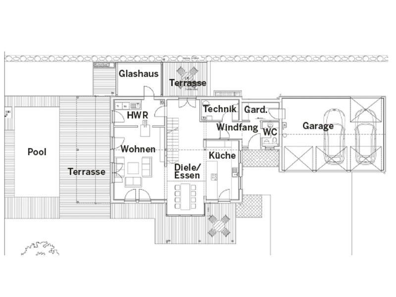 Grundriss Erdgeschoss Entwurf Niederhofer von Sonnleitner