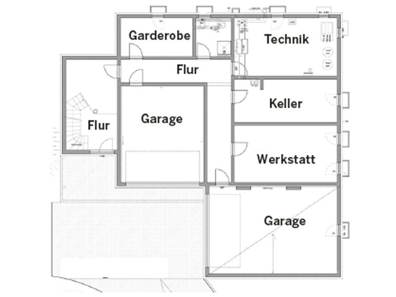 Untergeschoss Entwurf Wünschmann von Fertighaus Weiss