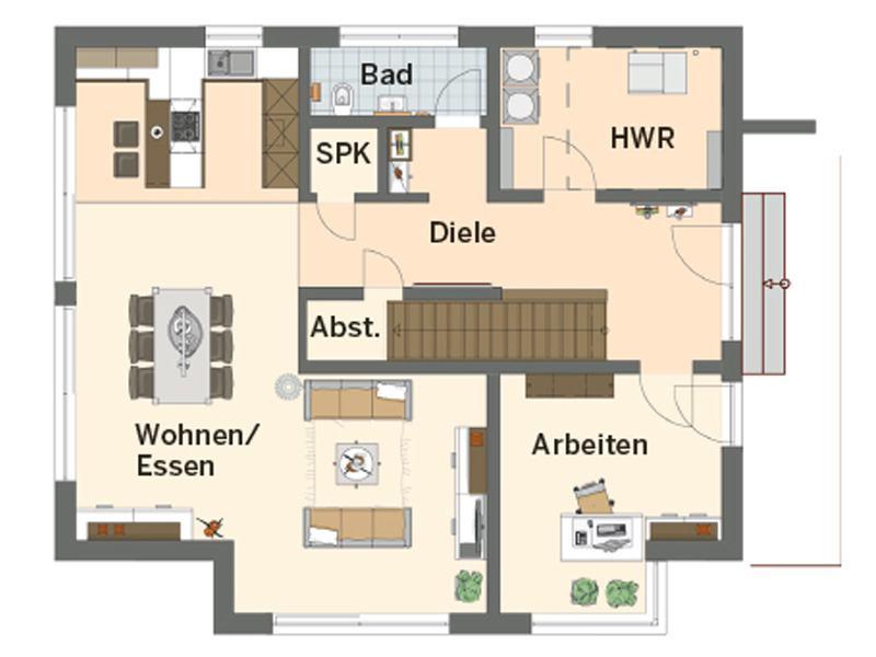 Grundriss Erdgeschoss Musterhaus Günzburg von Finger Haus