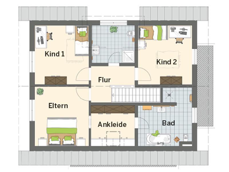Grundriss Obergeschoss Musterhaus Günzburg von Finger Haus