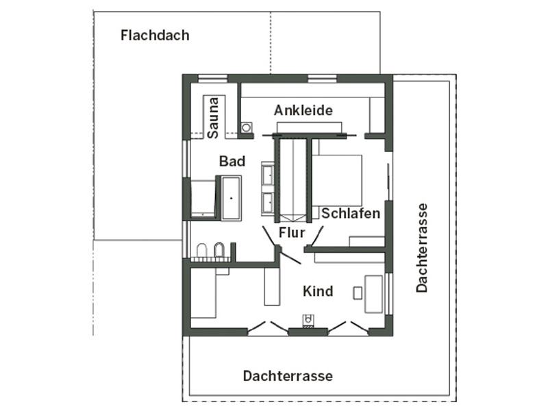 Grundriss Obergeschoss E 20-175.1 von SchwörerHaus