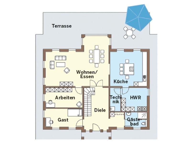 Grundriss Erdgeschoss Entwurf 130V von Arge-Haus