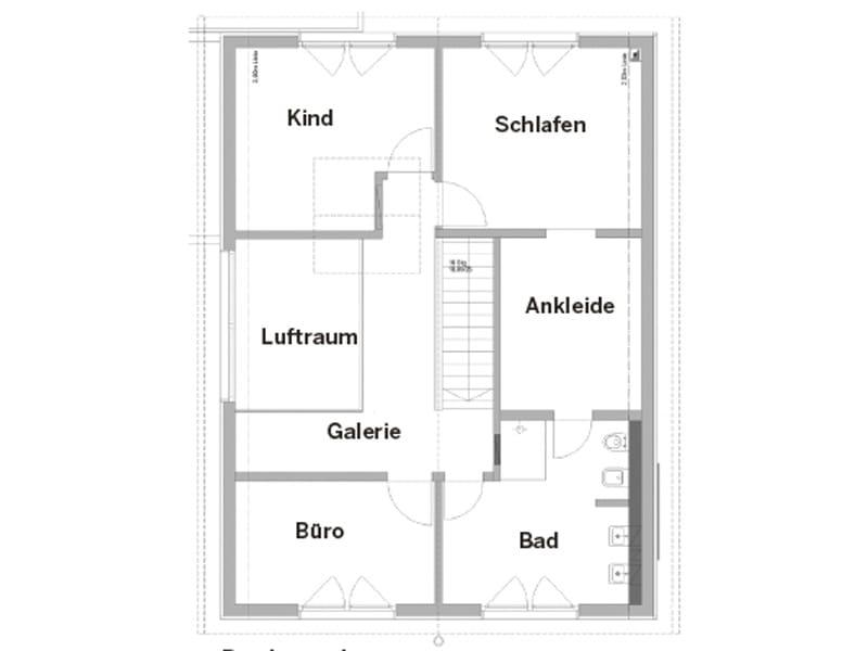 Grundriss Obergeschoss Entwurf Scheidl von Bittermann und Weiss