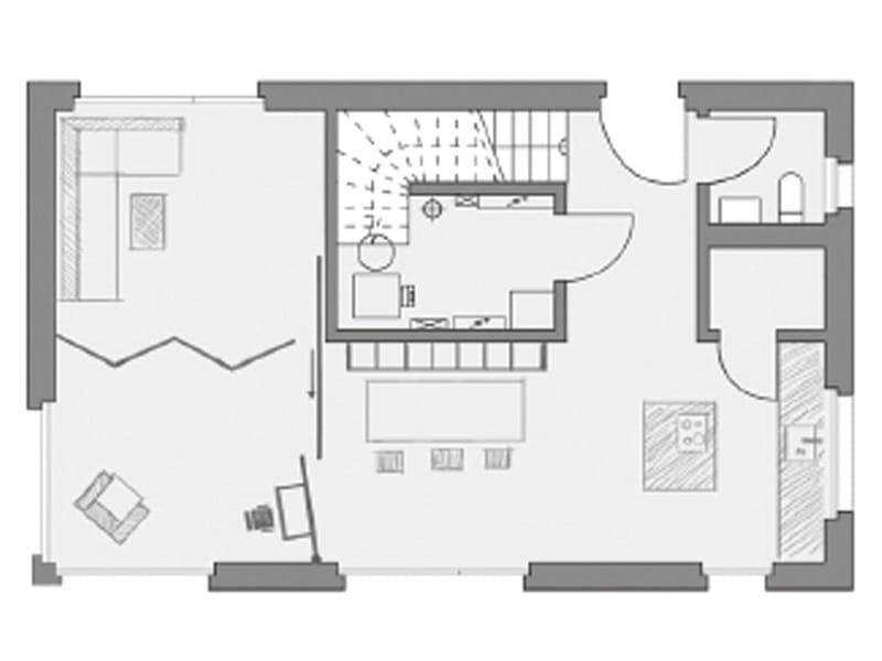 Grundriss Erdgeschoss Entwurf Ideenhaus von Baufritz