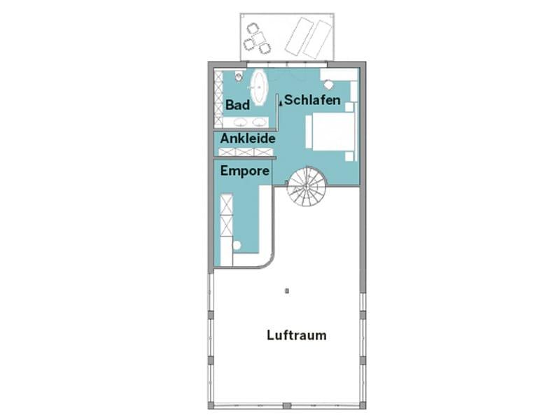 Grundriss Obergeschoss Ferienhaus Mommsen am Meer von Baufritz